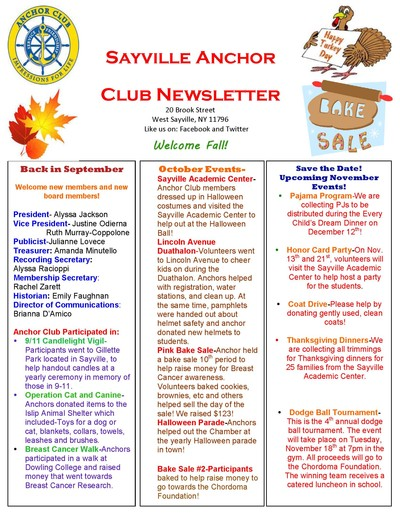 Anchor Club Newsletter