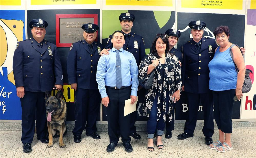 The Zane family with guests from the NYC Police Department.