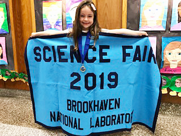 Audrey Leo Wins FIrst Place at BNL Elementary Science Fair