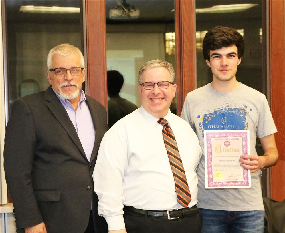 Donald Schweikert was presented a BOE Citation for his excellence in Music