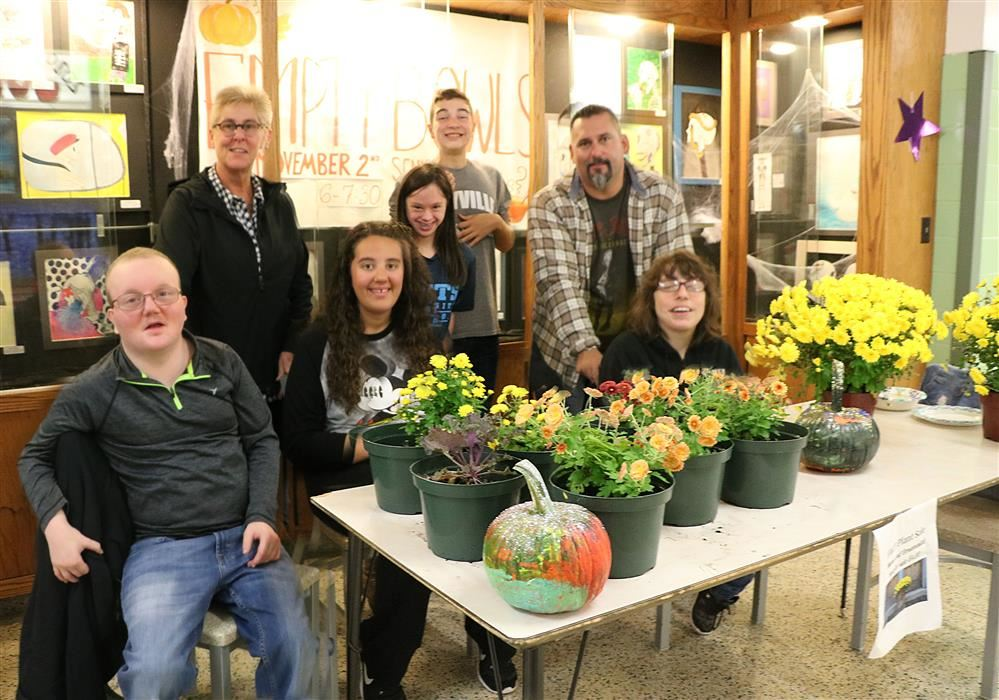 Studetnts, Staff and guests at Empty Bowls Mums Sale