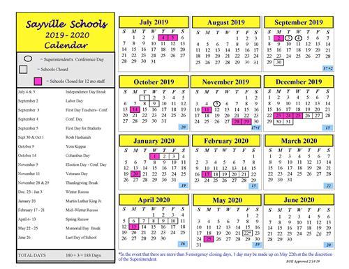 Holiday Calendar / 2019-2020 Academic Calendar