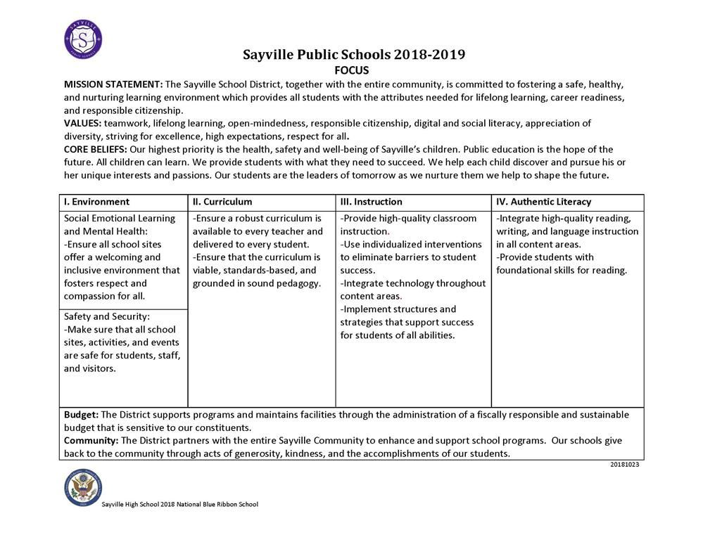MISSION STATEMENT: Sayville Public Schools 2018-2019 FOCUS