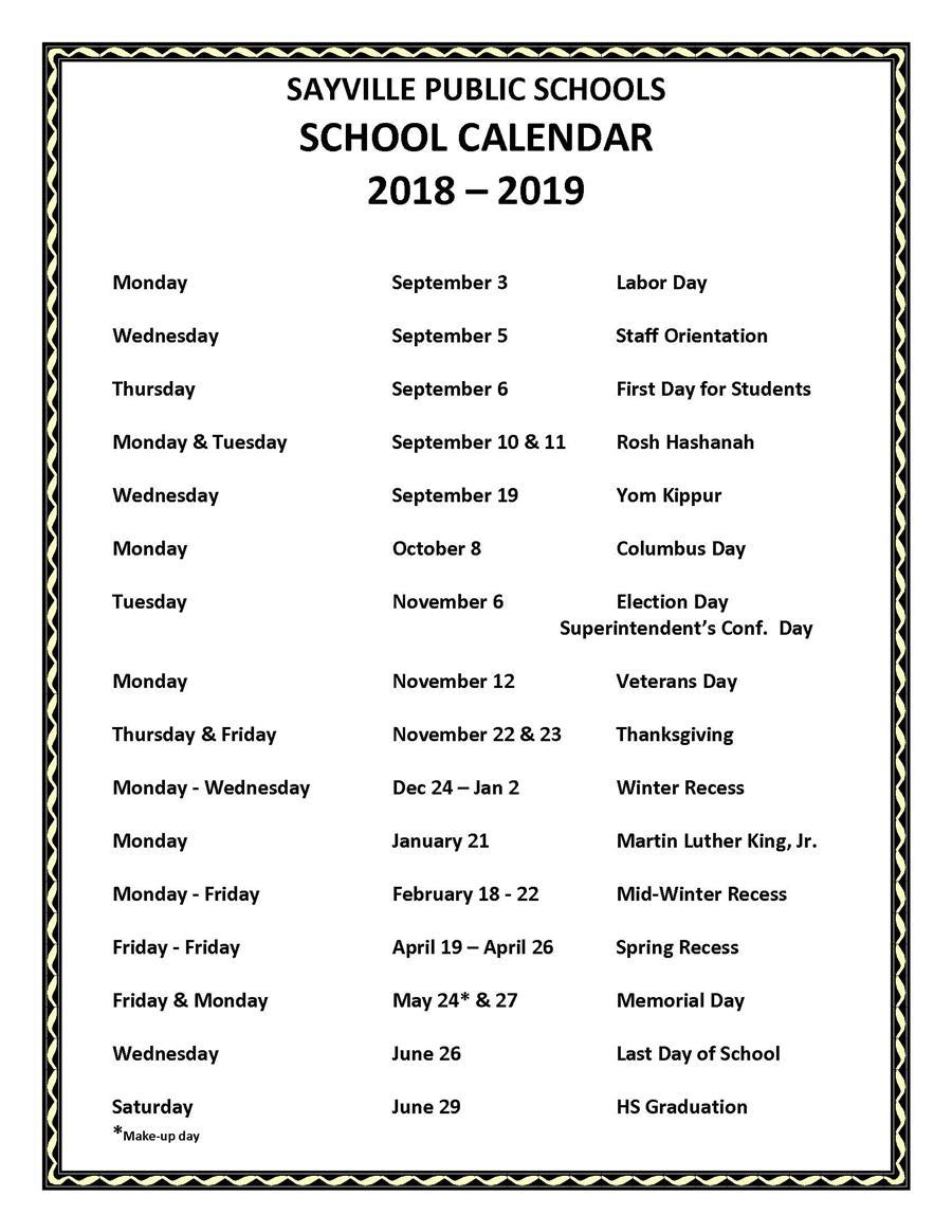 2018 2019 school holiday calendar